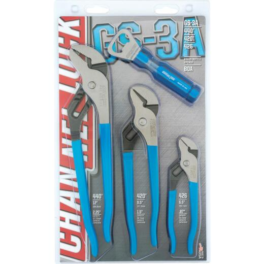 Channellock 6-1/2 In., 9-1/2 In. and 12 In. Tongue and Groove Plier Set with Bottle Opener (4-Piece)