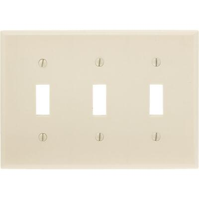 Leviton 3-Gang Plastic Toggle Switch Wall Plate, Ivory