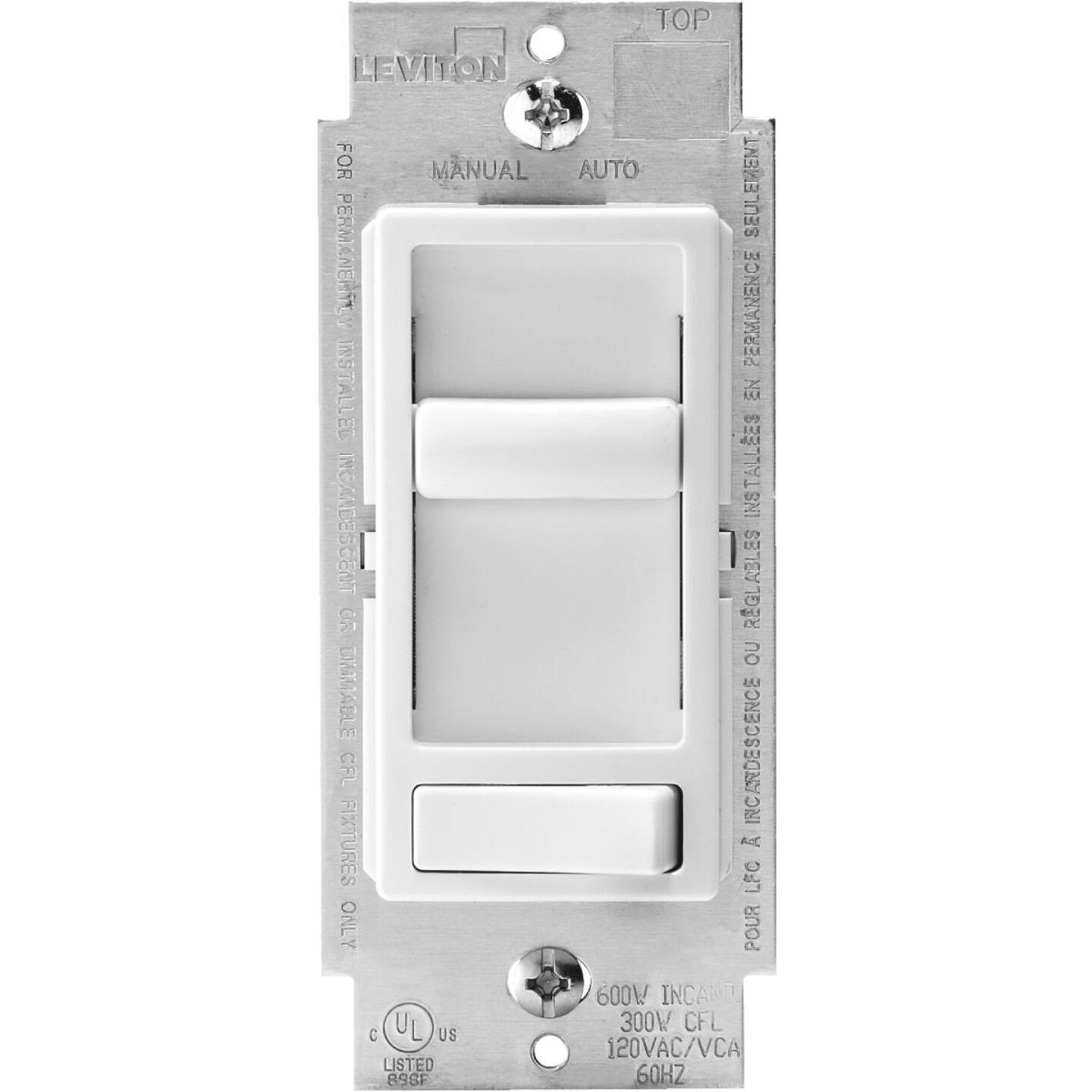 Leviton Decora Incandescent/LED/CFL White Slide Dimmer Switch Image 1