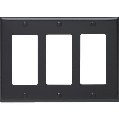 Leviton Decora 3-Gang Smooth Plastic Rocker Decorator Wall Plate, Black