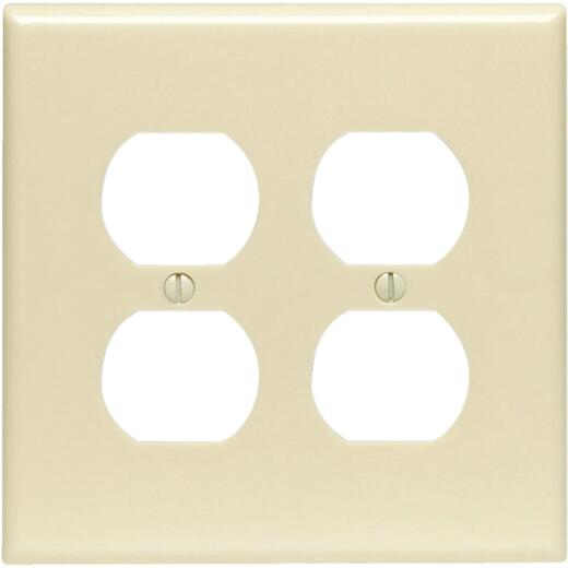Leviton Mid-Way 2-Gang Smooth Plastic Outlet Wall Plate, Ivory