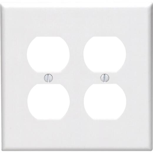 Leviton Mid-Way 2-Gang Smooth Plastic Outlet Wall Plate, White