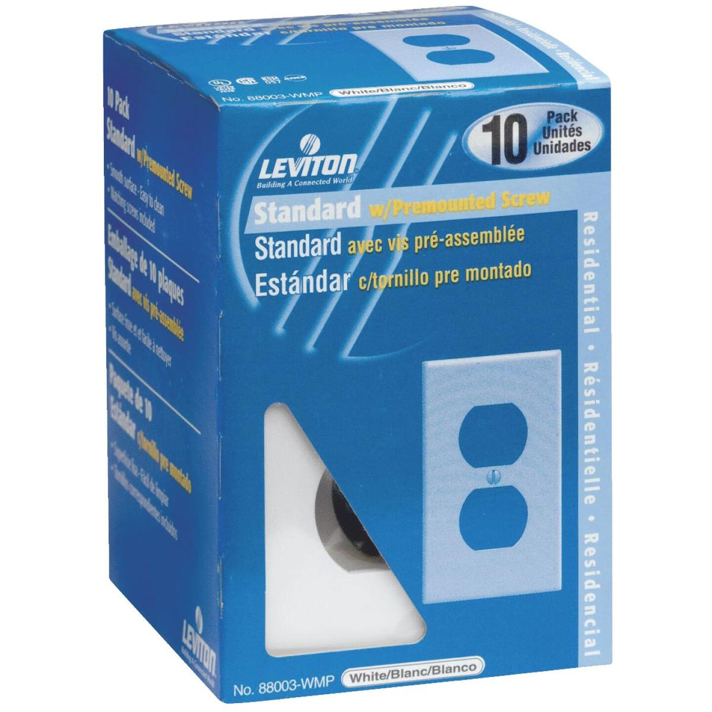 Leviton 1-Gang Smooth Plastic Outlet Wall Plate, White (10-Pack) Image 1