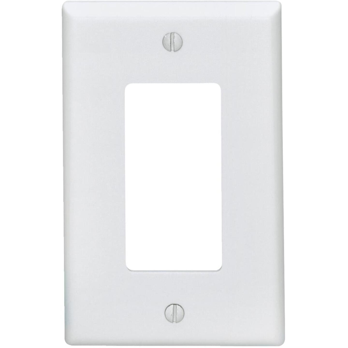 Leviton Mid-Way 1-Gang Smooth Plastic Rocker Decorator Wall Plate, White Image 1
