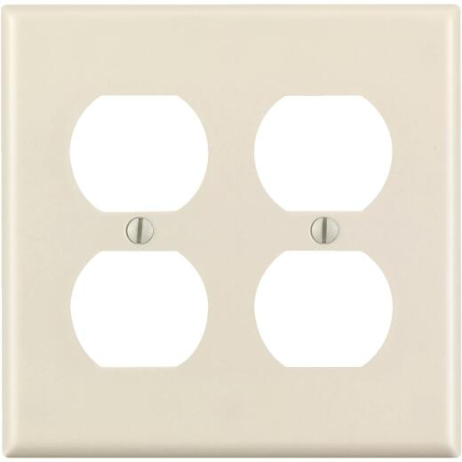 Leviton 2-Gang Smooth Plastic Outlet Wall Plate, Light Almond