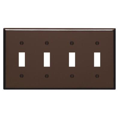 Leviton 4-Gang Plastic Toggle Switch Wall Plate, Brown