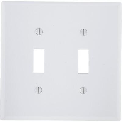 Leviton 2-Gang Plastic Toggle Switch Wall Plate, White