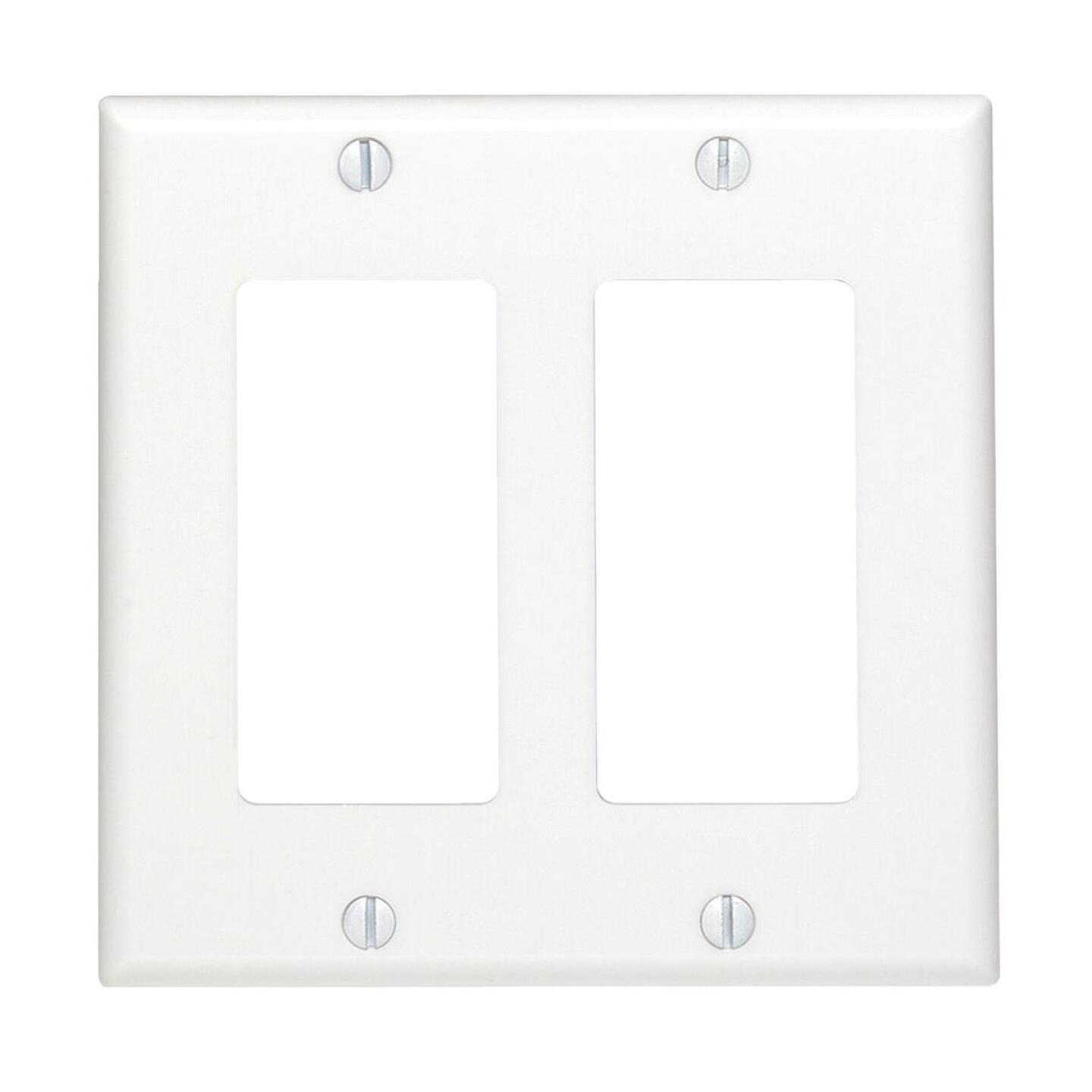 Leviton Decora 2-Gang Smooth Plastic Rocker Decorator Wall Plate, White Image 1