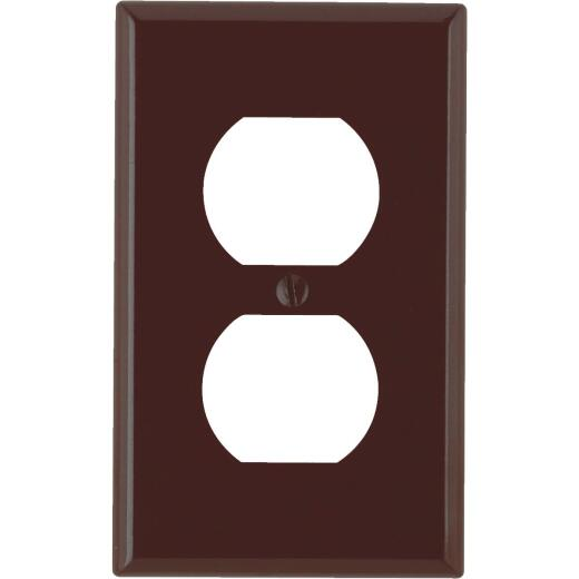Leviton 1-Gang Smooth Plastic Outlet Wall Plate, Brown