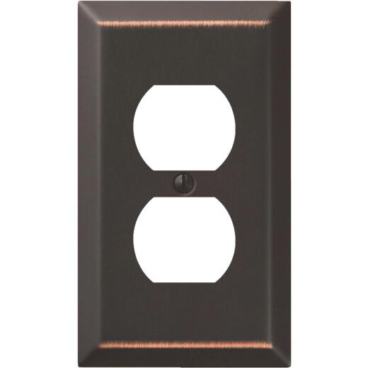 Amerelle 1-Gang Stamped Steel Outlet Wall Plate, Aged Bronze