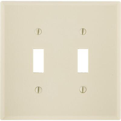 Leviton 2-Gang Plastic Toggle Switch Wall Plate, Ivory