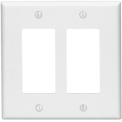 Leviton Mid-Way 2-Gang Smooth Plastic Rocker Decorator Wall Plate, White