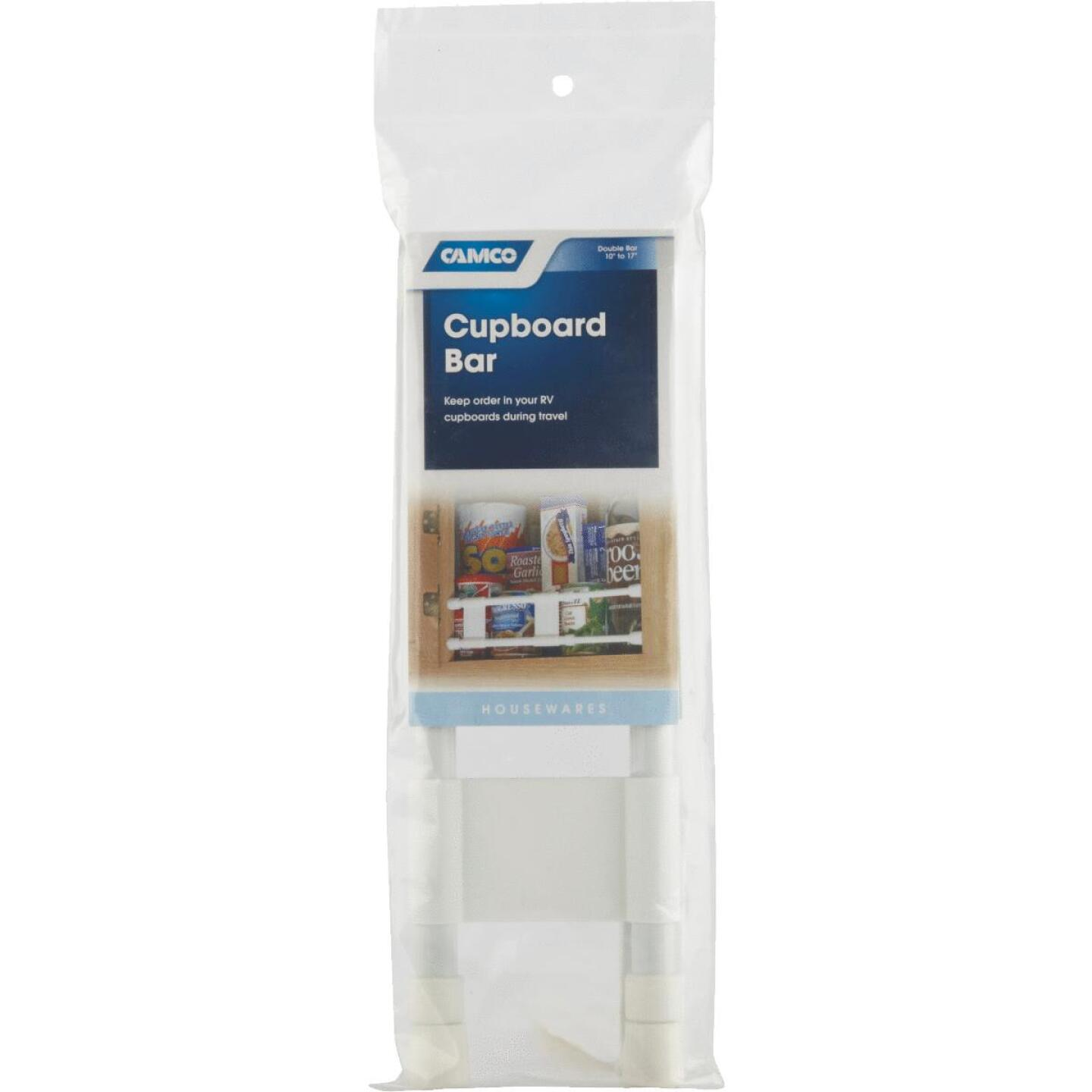 Camco Extends 10 In. to 17 In. White Cupboard RV Storage Bar Image 2