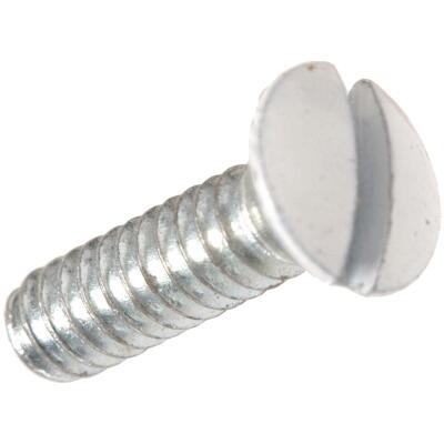 Hillman White 1/2 In. Steel Switch Wall Plate Screw (4-Pack)